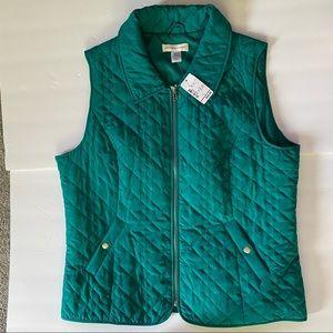 Christopher & Banks Quilted Vest Teal Size L